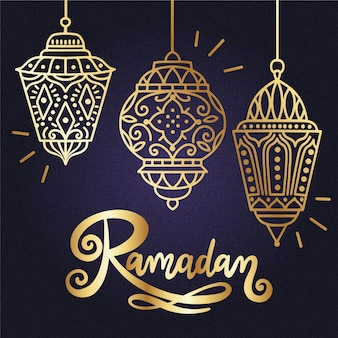 Ramadan design dorato di sfondo