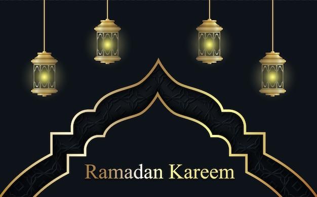 Ramadan di lusso kareen con sfondo lampada.