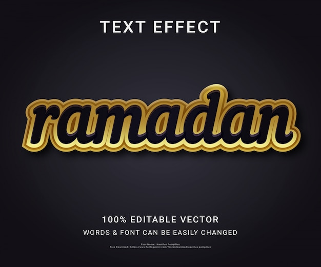 Ramadan full text editable effect