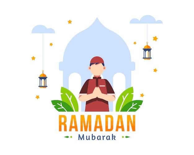 Ramadan kareem background con il giovane ragazzo musulmano che sta davanti all'illustrazione della siluetta della moschea