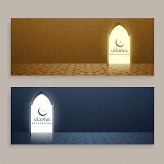 Ramadan kareem bandiere islamiche impostati