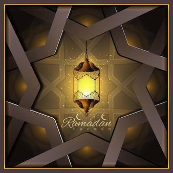 Ramadan kareem belle stelle di lanterna araba incandescente