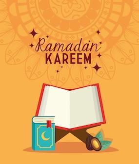 Ramadan kareem carta islamica, libro corano aperto e data illustrazione della frutta