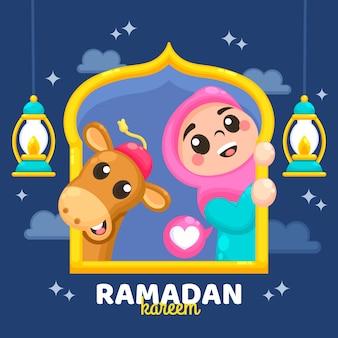 Ramadan kareem celebrazione sullo sfondo