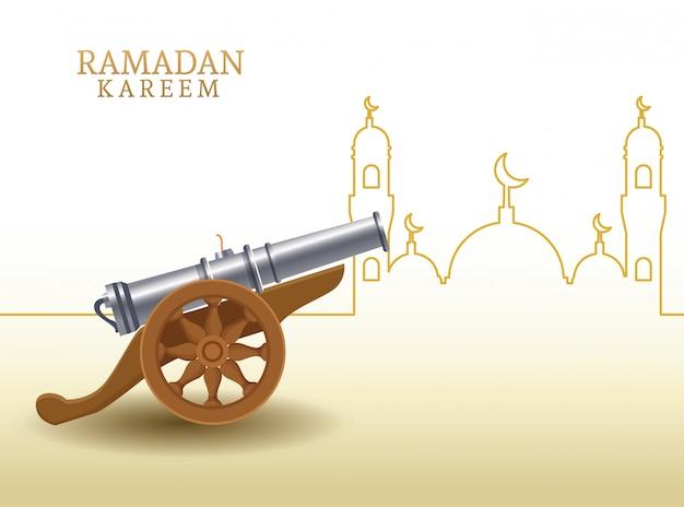 Ramadan kareem con forma di canone e moschea