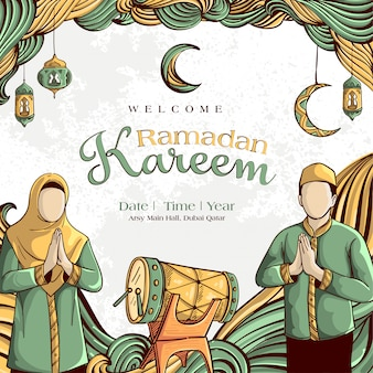 Ramadan kareem con l'ornamento islamico disegnato a mano dell'illustrazione sul fondo bianco di lerciume