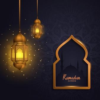 Ramadan kareem con la moschea islamica della lanterna leggera