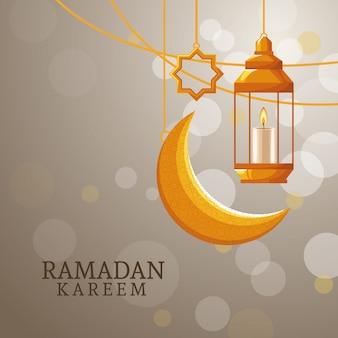 Ramadan kareem con luna calante