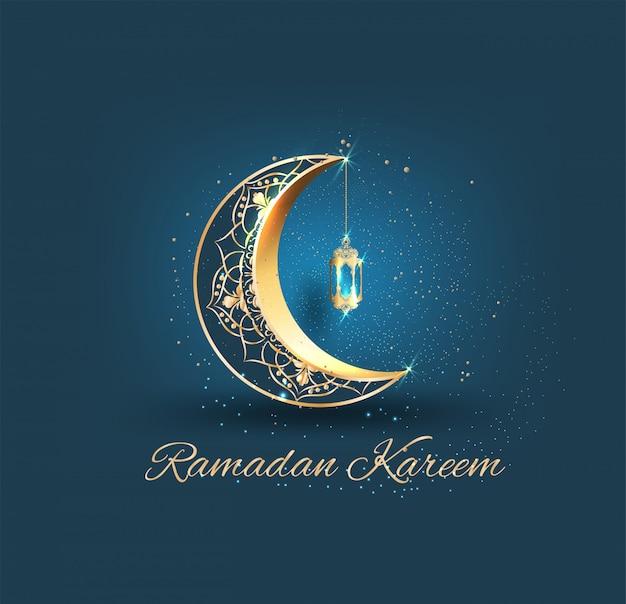 Ramadan kareem con mezzaluna ornata dorata e moschea di linea islamica