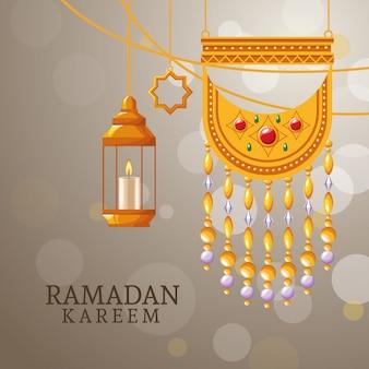 Ramadan kareem con simboli islamici