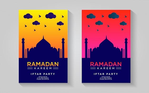 Ramadan kareem design colorato poster con modello di colore rosso e giallo