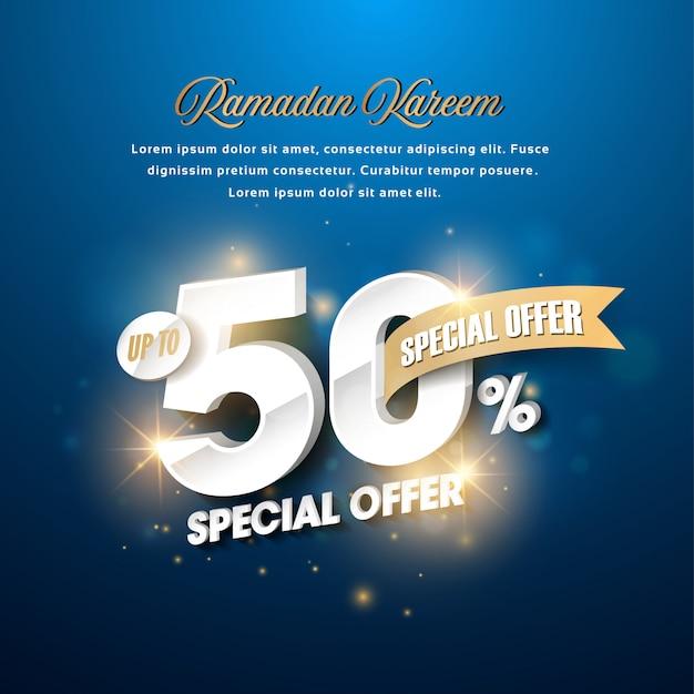 Ramadan kareem design creativo di colore blu
