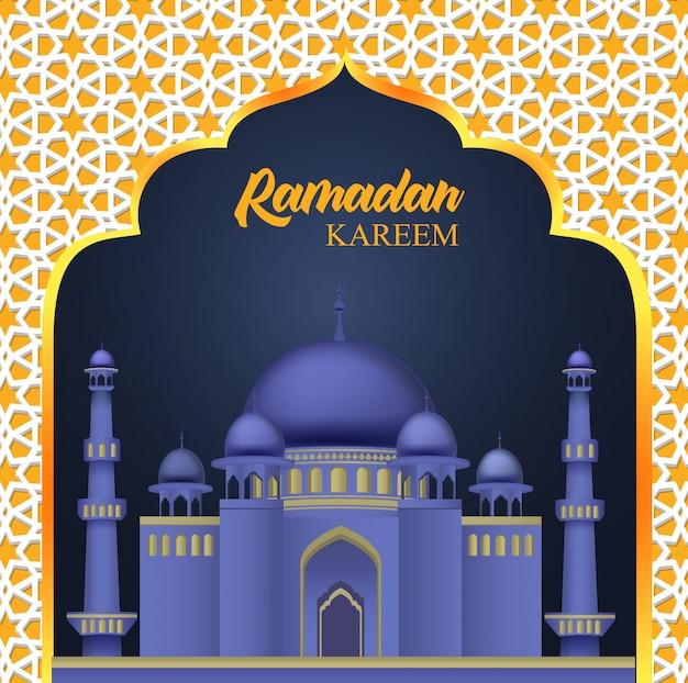 Ramadan kareem design islamico con moschea