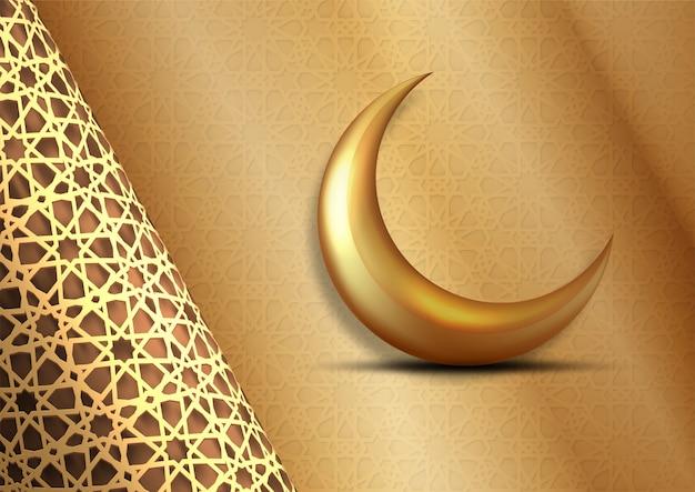 Ramadan kareem design, luna d'oro