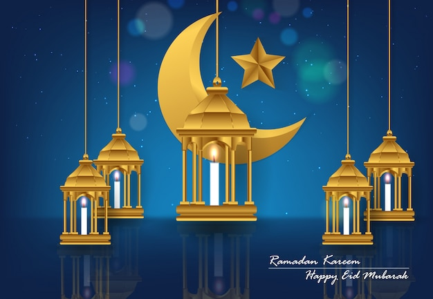 Ramadan kareem e felice sfondo di eid mubarak