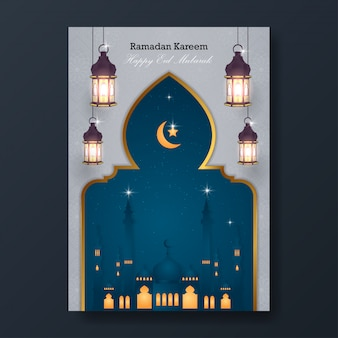 Ramadan kareem e happy eid mubarak flyer