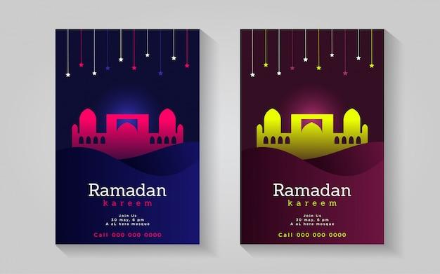 Ramadan kareem e moschea colorato impressionante modello di progettazione del manifesto