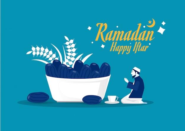 Ramadan kareem, iftar con illustrazione di uomini musulmani