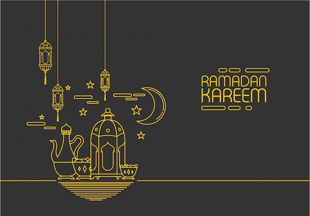 Ramadan kareem in stile mono linea ornamento sfondo