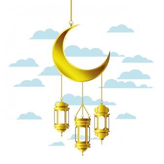 Ramadan kareem lanterna e luna appesa
