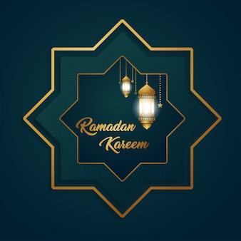 Ramadan kareem lusso esclusivo esagono luna lanterna disegno di sfondo