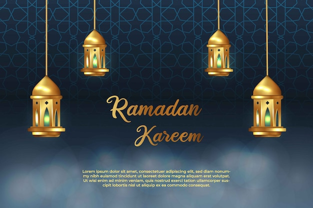 Ramadan kareem modello di biglietto di auguri con ornamento islamico e lanterna bandiera islamica sfocato bokeh sfondo design