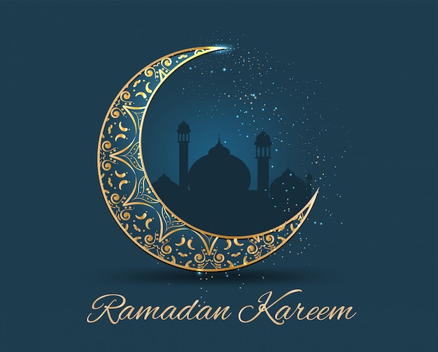 Ramadan kareem ornato d'oro