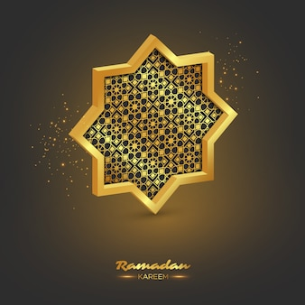 Ramadan kareem ottagono 3d.