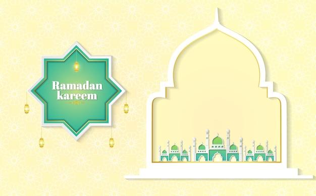 Ramadan kareem paper graphic dell'illustrazione islamica di vettore di arte