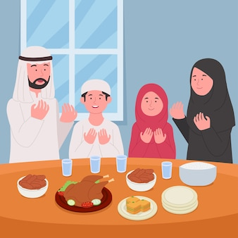 Ramadan kareem prega insieme prima dell'illustrazione di iftar