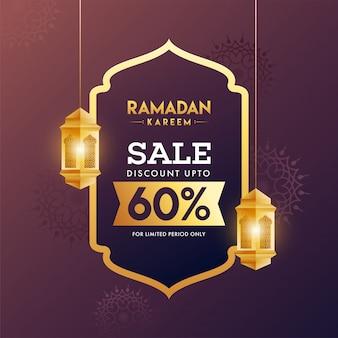 Ramadan kareem sale concept con appese lanterne dorate.