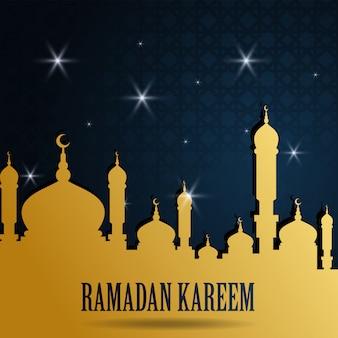 Ramadan kareem saluto design islamico con moschea e cielo notturno