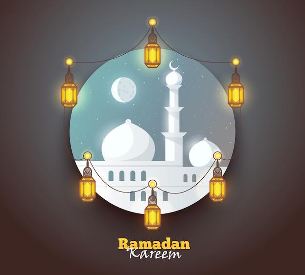 Ramadan kareem saluto sfondo. colorato per cartolina d'auguri, banner web e materiale di stampa. illustrazione.