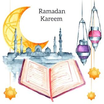 Ramadan kareem sfondo ad acquerello