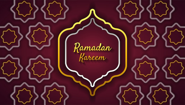 Ramadan kareem sfondo con ornamento islamico in oro e argento