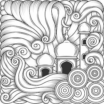 Ramadan kareem, vettore dell'ornamento dell'illustrazione della moschea islamica di eid al fitr