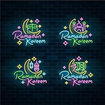 Ramadan lettering concetto di insegna al neon