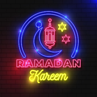 Ramadan lettering insegna al neon