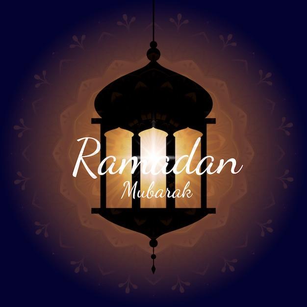Ramadan mubarak card design vettoriale