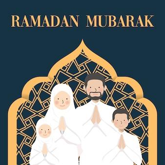 Ramadan mubarak desidera e saluto con il personaggio dei cartoni animati del ritratto della famiglia nel bianco