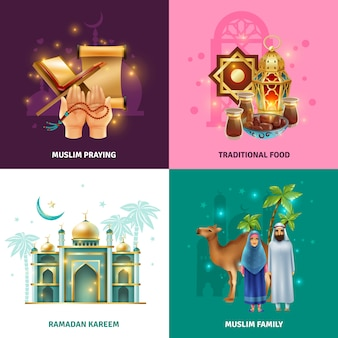 Ramadan traditions concept 4 icons square