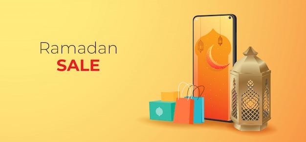 Ramadan vendita banner modello, sconto e promozione design. miglior tag label in occasione di ramadan kareem e eid mubarak,