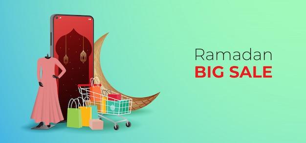 Ramadan vendita banner modello, sconto e promozione design.