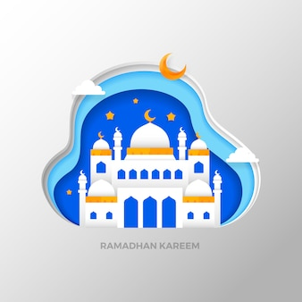 Ramadhan kareem che saluta lo stile di arte di carta islamica