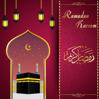 Ramadhan kareem con sfondo hajj kaaba