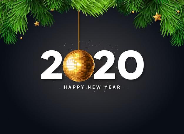 Rami di albero di natale con felice anno nuovo 2020