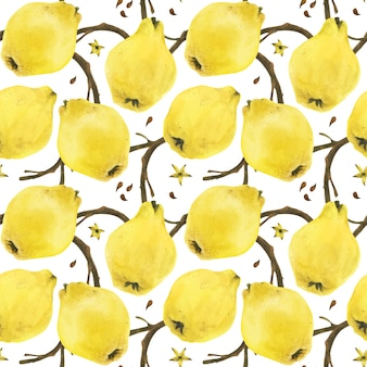 Rami di mele cotogne seamless pattern