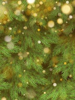 Rami verdi dell'albero di natale delle luci della ghirlanda dell'oro e del pino.