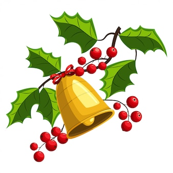 Ramo della bacca dell'agrifoglio di natale con l'illustrazione delle campane dorate