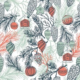 Ramo di abete disegnato a mano con decorazioni natalizie.